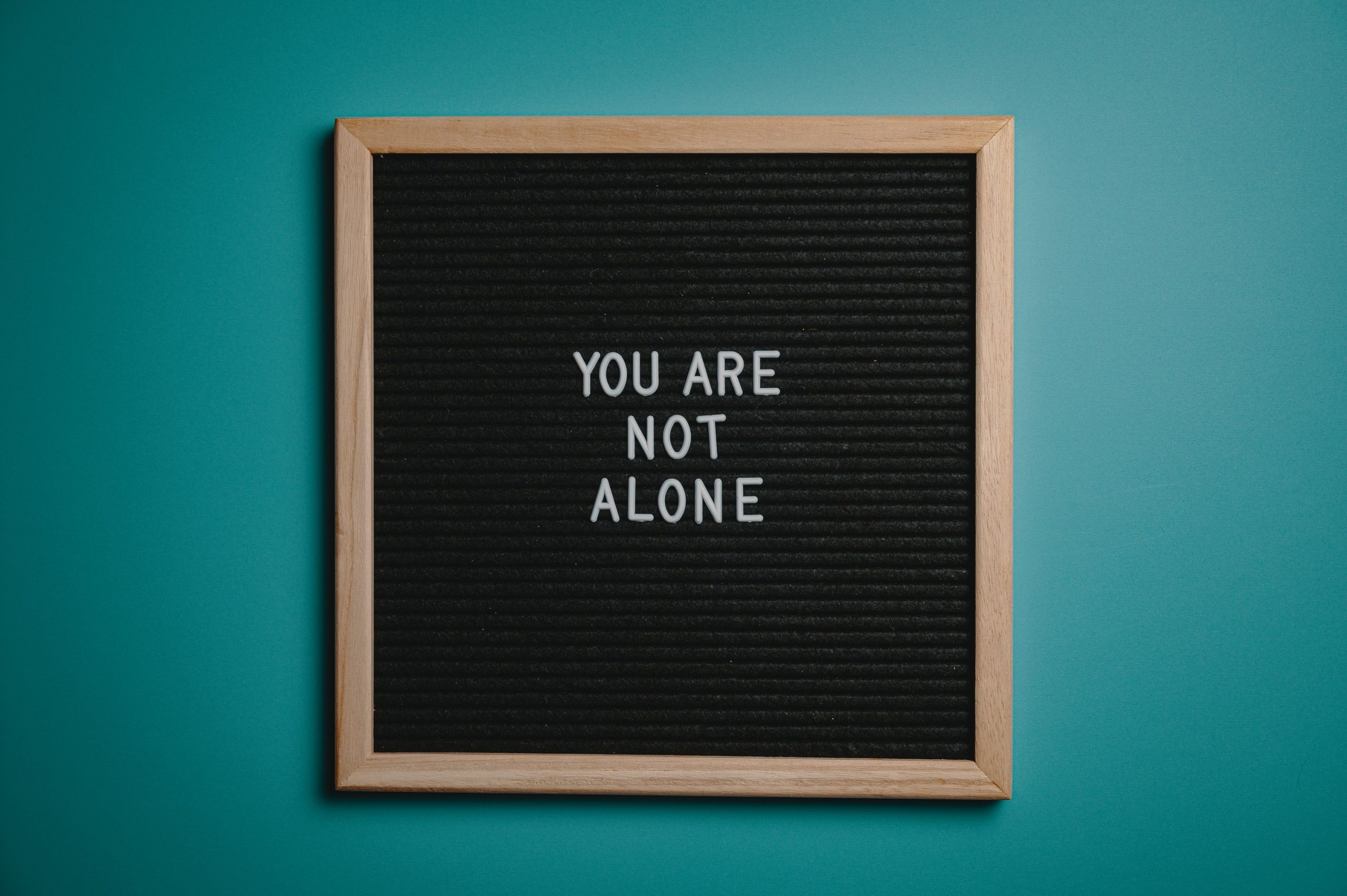 "picture frame with the words ""you are not alone"" in it"